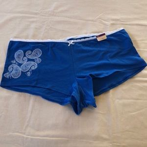 NWT Cacique Blue/White Boy Short Panties Underwear